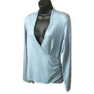 ANN TAYLOR Silk + Cashmere Surplice Sweater